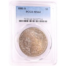 1881-S $1 Morgan Silver Dollar Coin PCGS MS64 Nice Toning