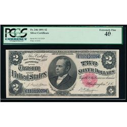 1891 $2 Silver Certificate PCGS 40