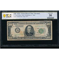 1934A $500 Cleveland Federal Reserve Note PCGS 30