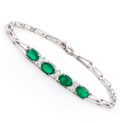 Plated Rhodium 2.55ctw Green Agate and Diamond Bracelet