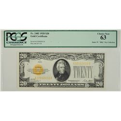 1928 $20 Gold Certificate PCGS 63