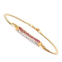 Plated 18KT Yellow Gold 0.51ctw Ruby and Diamond Bracelet