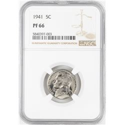 1941 Proof Jefferson Nickel Coin NGC PF66