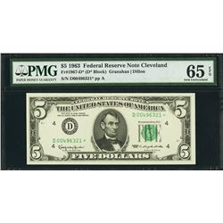 1963 $5 Cleveland Federal Reserve STAR Note PMG 65EPQ