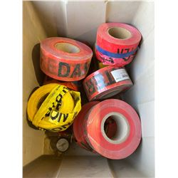 FT.MAC: LOT OF 10 ASSORTED ROLLS OF BARRICADE TAPE