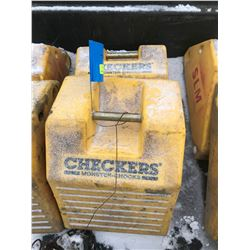 FT.MAC: LOT OF 2 CHECKERS LARGE EQUIPMENT WHEEL