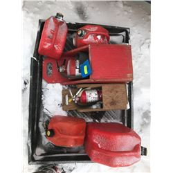 FT.MAC: ASSORTED GAS CANS AND FIRE EXTINGUISHERS