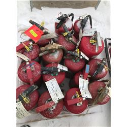 FT.MAC: LOT OF VARIOUS SIZED FIRE EXTINGUISHERS