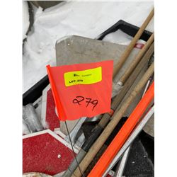 FT.MAC: LOT OF VARIOUS HAND HELD SIGNS AND STAND