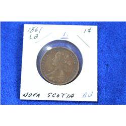 Nova Scotia One Cent Coin (1) - 1861, AU