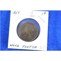 Nova Scotia One Cent Coin (1) - 1864, EF