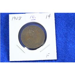 Cda One Cent Coin (1) - 1908, F