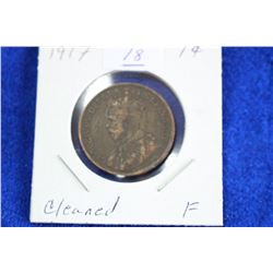 Cda One Cent Coin (1) - 1917, F (cleaned)