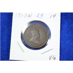 Cda One Cent Coin (1) - 1907H, VG