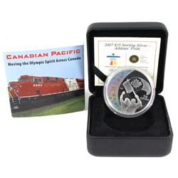 Rare Sleeve! 2007 Canada $25 Athletes' Pride Olympic Sterling Silver Hologram Coin with Canadian Pac