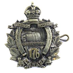 Canadian Expeditionary Force Overseas Battalion Niagara Rangers 176 WWI Cap Badge.