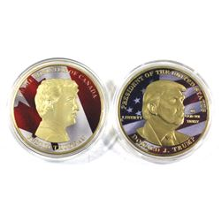 Pair of Gilded & Coloured Copper Medallions - Prime Minister of Canada Justin Trudeau & President of