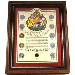 *1858-1967 Canadian Nickel Collection 11-coin Set in Wooden Frame. You will receive an example of al