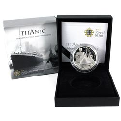 2012 Alderney 5 Pound 100th Anniversary of the Titanic Sterling Silver Proof Coin (Toning on back of