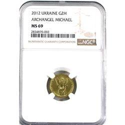 2012 Ukraine 2H Archangel Michael 1/10oz .9999 Fine Gold NGC Certified MS-69. (TAX Exempt)