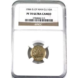 1984 Isle of Man Angel 1/10oz .9999 Fine Gold NGC Certified PF-70 Ultra Cameo. (TAX Exempt)