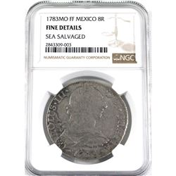 1783MO FF Mexico 8 Reals Sea Salvaged NGC Certified Fine Details.