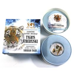 2014 Niue $1 SOS Endangered Animal Species of the World Fine Silver Coloured Coin Series - Siberian