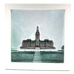 Canadian Heritage Mint Issue: 100 Gram Canada Coloured Parliament Shaped .9999 Fine Silver in Capsul