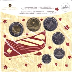 2013 Winnipeg Royal Canadian Numismatic Association Convention 6-coin and Medal set. Card number 1 o
