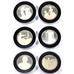 6x 1974 Royal Mint Churchill Sterling Silver Medallions in Capsules. Each medallion depicts a differ