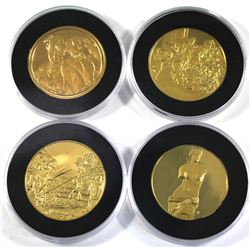 4x 24K Gold Plated Sterling Silver Medallions in Capsules from Various Franklin Mint Collections. Yo