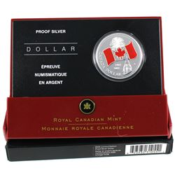 2005 Canada Red Enamel National Flag Proof Limited Edition Silver Dollar. (TAX Exempt)