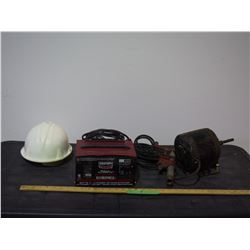 Pipe Clamp, Helmet, 1/4 HP Electric, Century Battery Charger (Working)