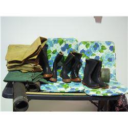 Chair Cushions, Air Mattress, Rubber Boots, Gunny Sacks and Misc
