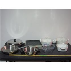 Misc Lot of Kitchenware, Pots, Roasters, Casserole Dishes and etc.