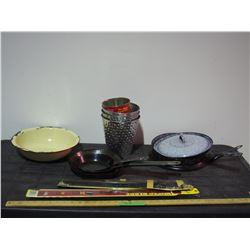 Metal Frying Pans Vintage, Enamel Frying Pan, Enamel Bowl and Misc