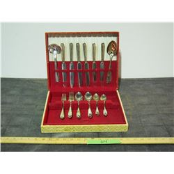 Partial Silver Plated Cutlery in Case