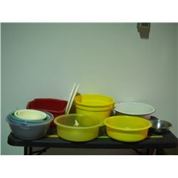 Misc Bowls Plastic and 1 Enamel