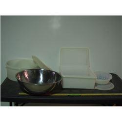 Stainless Steel Mixing Bowl plus Tupperware