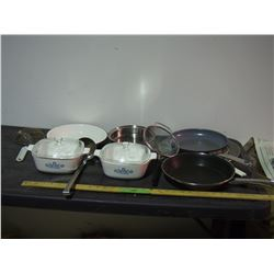 Corningware Casserole Dishes, Frying Pans and Misc