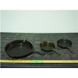 """3 Cast Iron Skillets (Two 3"""", One 9"""")"""