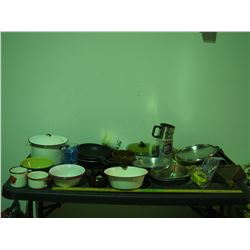 Enamel Bowls, Enamel Pot and Cups, Frying Pans and Misc
