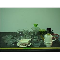 Teapot, Gravy Boat and Misc Glassware