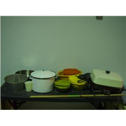 Tupperware, Frying Pans, Enamel Pot and Misc