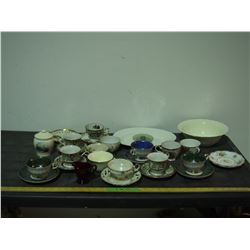Misc Cups and Saucers (4 Cups are Footed), Bowl and Platter