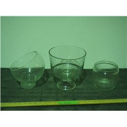3 Unique Clear Glass Items