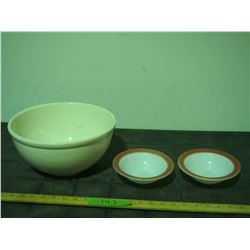 Medicine Hat Potteries #10 Mixing Bowl and 2 Pyrex Desert Bowls