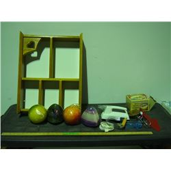 Wooden Display Cabinet, Candles and Misc
