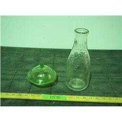 Co-Op Quart Milk Bottle and Green Depression Glass Bowl with Lid