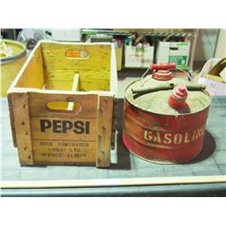 Vintage Gas Can and Vintage Pepsi Wooden Crate